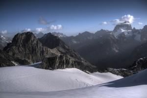 vue depuis le glacier sur la barre des Ecrins
