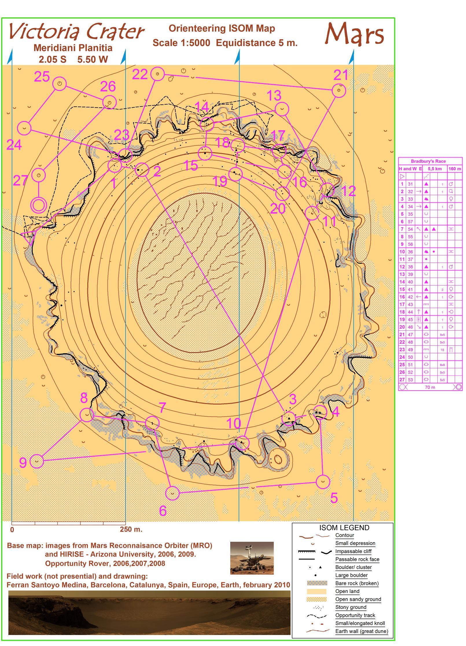 Victoria Crater; orienteering map