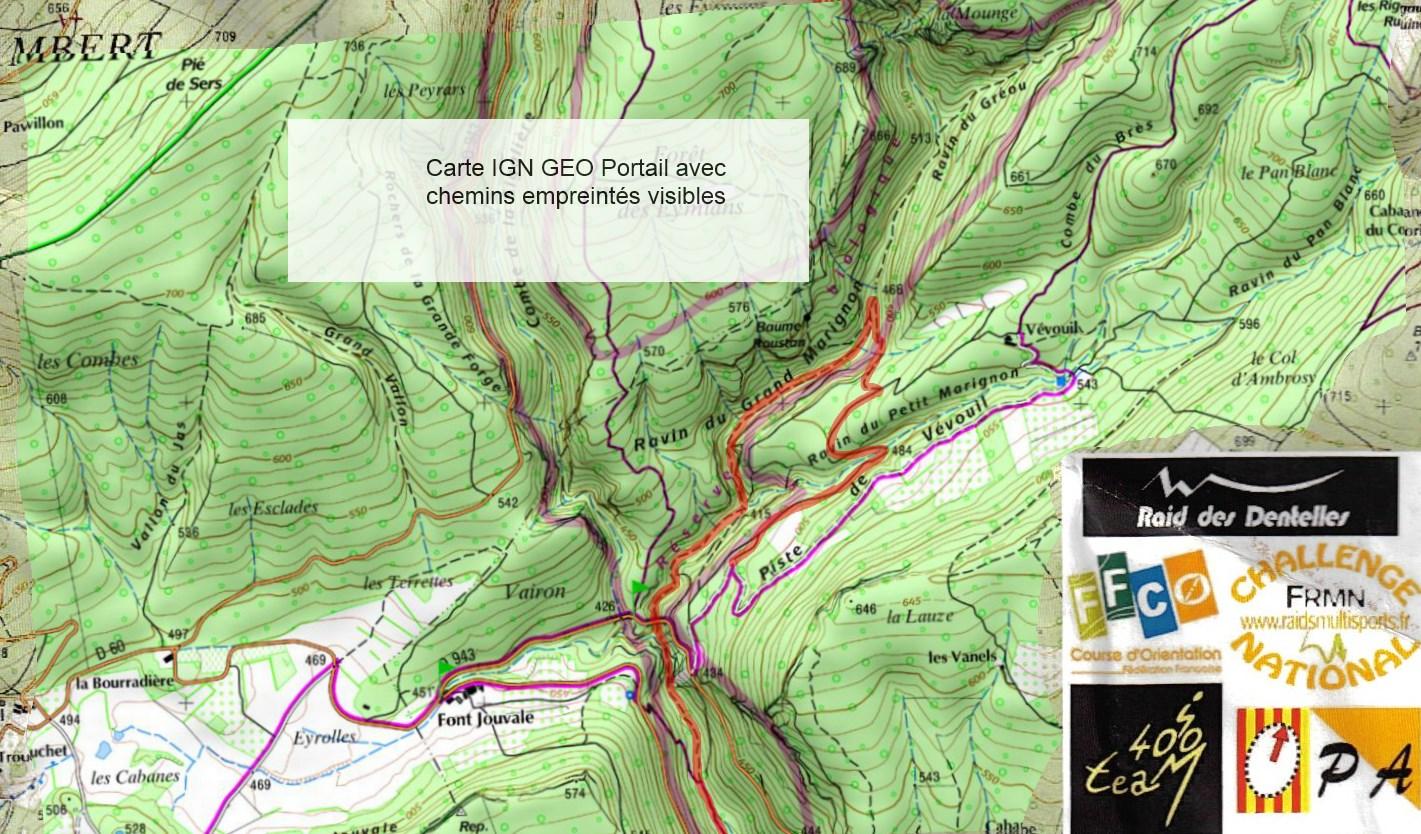 Dentelles 2014 VTT 3 Balise 20 geoportail